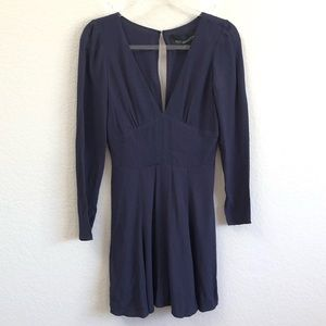 Reformation Mini Dress Navy Blue Long Sleeve SM